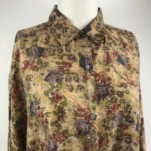 vintage 100% Silk Long Sleeve Floral Blouse Tan L